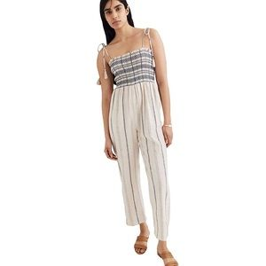 Madewell smocked tie linen jumpsuit pockets S